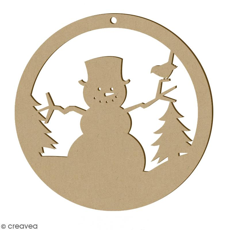 Forme en bois Noël - Boule ajourée Bonhomme de neige 6 cm - Photo n°1
