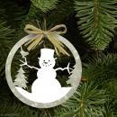 Forme en bois Noël - Boule ajourée Bonhomme de neige 6 cm - Photo n°2
