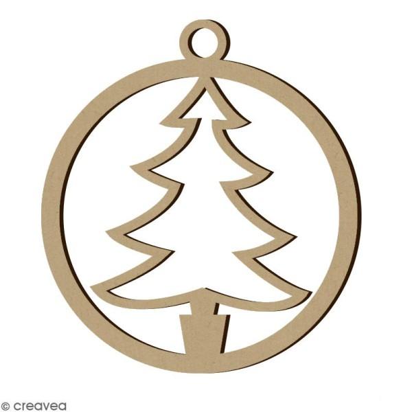 Forme en bois Noël - Boule ajourée Sapin 4,5 cm - Photo n°1