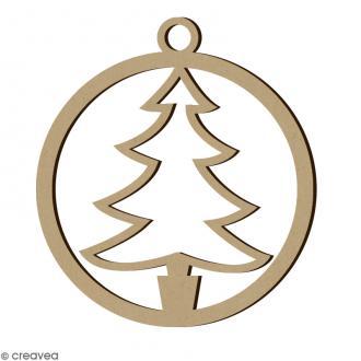 Forme en bois Noël - Boule ajourée Sapin 4,5 cm