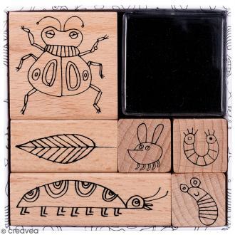 Set tampons Insectes - 6 tampons et 1 encreur