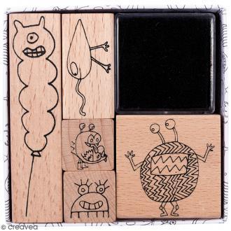 Set tampons Monstres - 5 tampons et 1 encreur