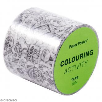 Masking Tape à colorier XL - Monstres - 4 cm x 10 mètres