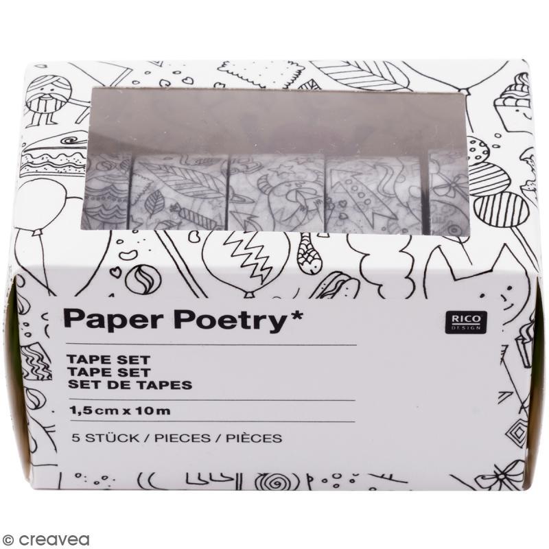 Assortiment Masking Tape à colorier - Monstres - 1,5 cm x 10 m - 5 pcs - Photo n°1