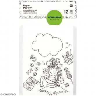 Set de cartes d'invitation à colorier avec enveloppes - 24 pcs