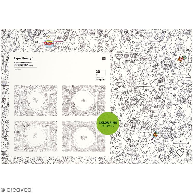 Sets de table à colorier - 20 pcs - Photo n°1