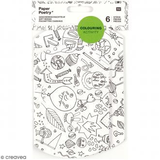 Sets de pochettes cadeaux à colorier - 6 pcs