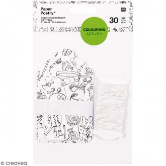 Assortiment d'étiquettes cadeaux à colorier - 30 pcs