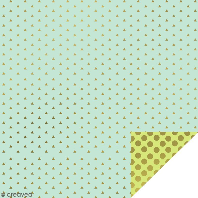 Serviettes en papier - Confettis Dorés - Serviettes Vertes et bleues - 20 pcs - Photo n°1