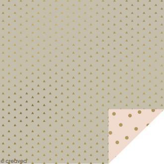 Serviettes en papier - Confettis Dorés - Serviettes Grises et roses - 20 pcs