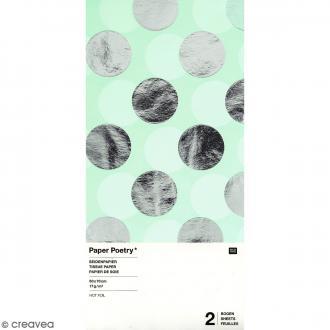 Papier de soie - Pois argentés sur fond vert menthe - 50 x 70 cm - 2 pcs
