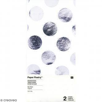 Papier de soie - Pois argentés sur fond blanc - 50 x 70 cm - 2 pcs