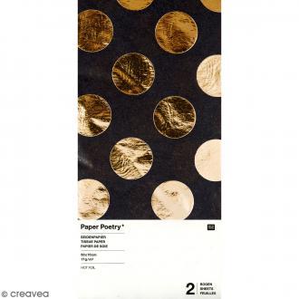 Papier de soie - Pois dorés sur fond noir - 50 x 70 cm - 2 pcs
