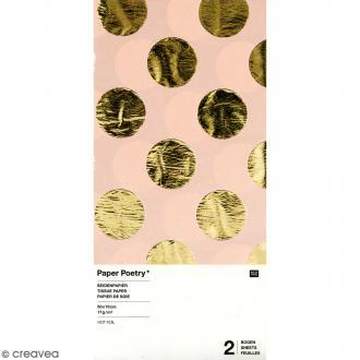 Papier de soie - Pois dorés sur fond rose - 50 x 70 cm - 2 pcs