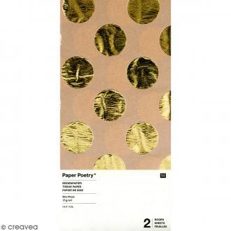 Papier de soie - Pois dorés sur fond marron naturel - 50 x 70 cm - 2 pcs