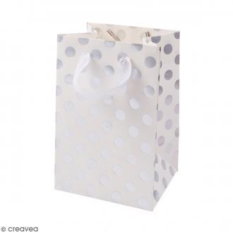Sac cadeau Blanc à pois argentés - 18 x 12 cm