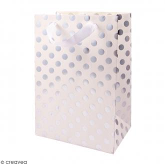 Sac cadeau Blanc à pois argentés - 26 x 18 cm