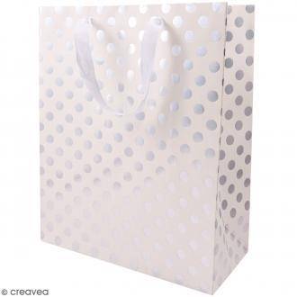 Sac cadeau Blanc à pois argentés - 32 x 26 cm