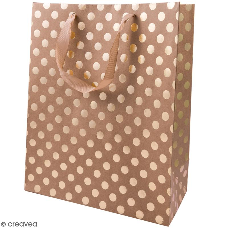 sac cadeau marron naturel pois dor s 32 x 26 cm sacs en kraft creavea. Black Bedroom Furniture Sets. Home Design Ideas