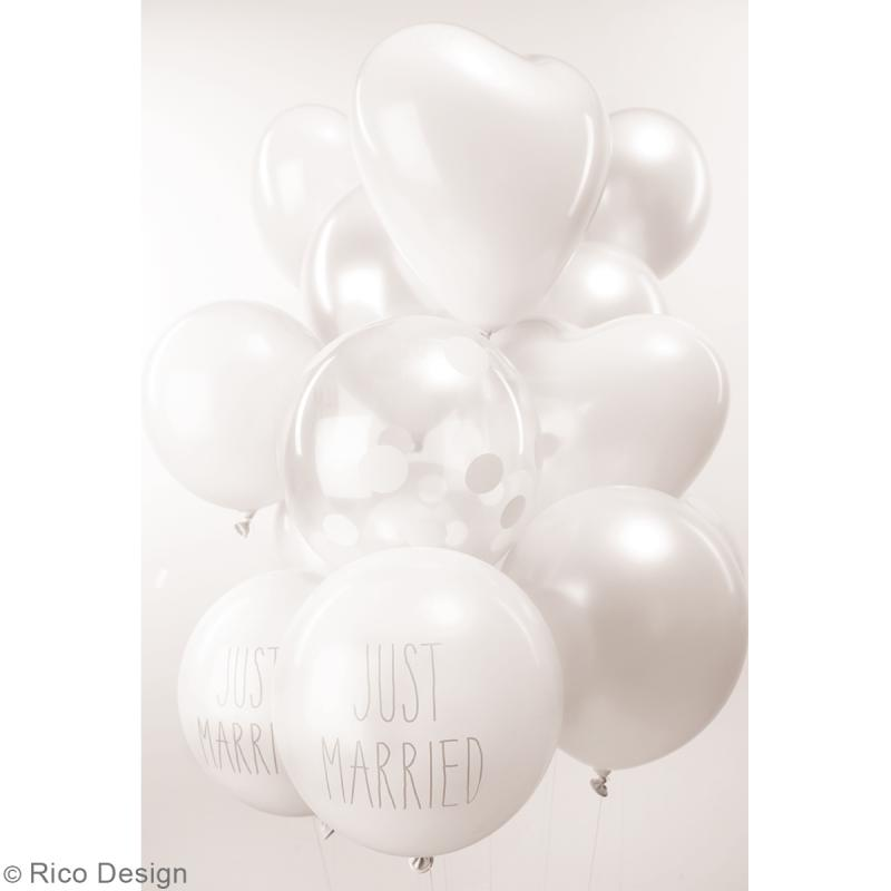 Ballons de baudruche Rico Design YEY - Pois blanc sur fond Transparent - 30 cm - 12 pcs - Photo n°2