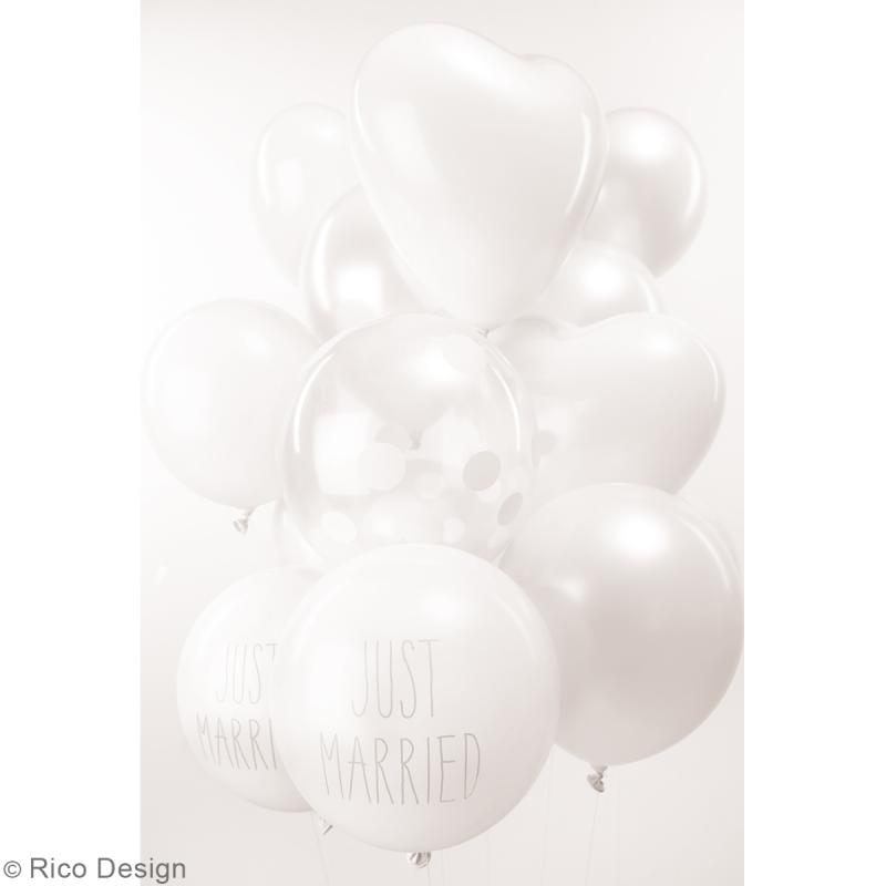 Ballons de baudruche Just married Rico Design YEY - Blanc - 30 cm - 12 pcs - Photo n°2