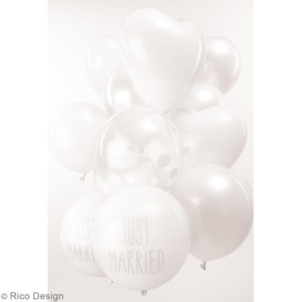Ballons de baudruche Just married Rico Design YEY - Blanc - 30 cm - 12 pcs - Photo n°2