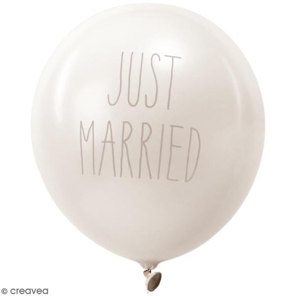 Ballons de baudruche Just married Rico Design YEY - Blanc - 30 cm - 12 pcs - Photo n°1