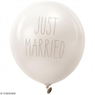 Ballons de baudruche Just married Rico Design YEY - Blanc - 30 cm - 12 pcs