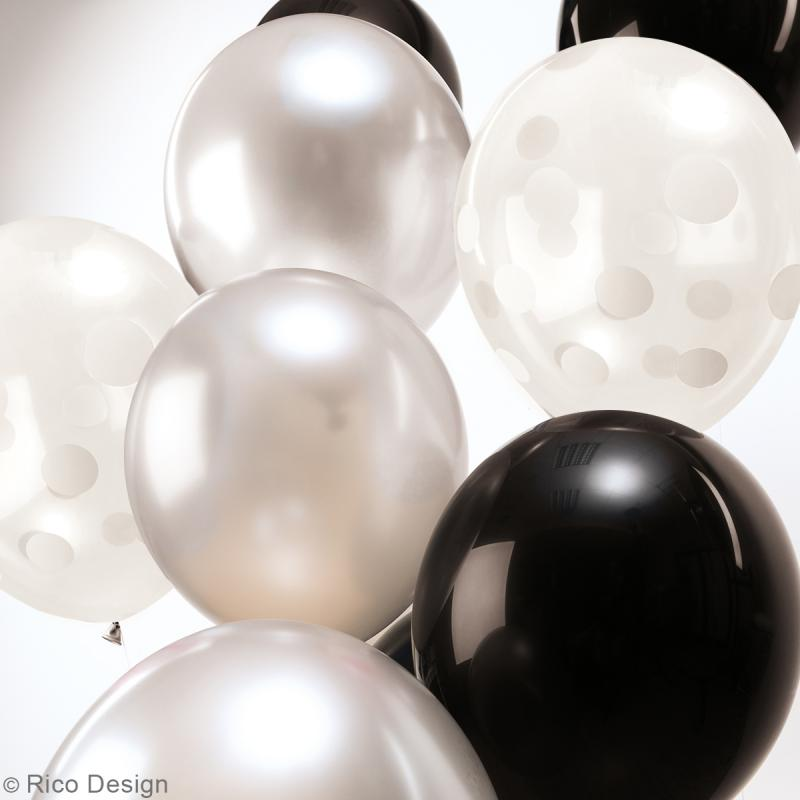 Ballons de baudruche Rico Design YEY - Mix Noir et blanc - 30 cm - 12 pcs - Photo n°2