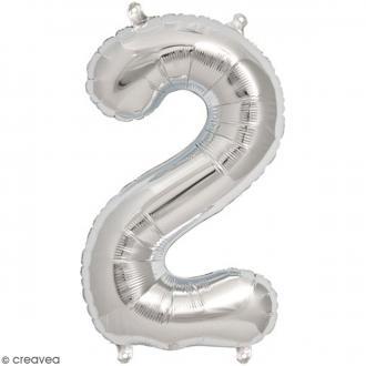Ballon Aluminium - Chiffre 2 - Argenté - 1 pce