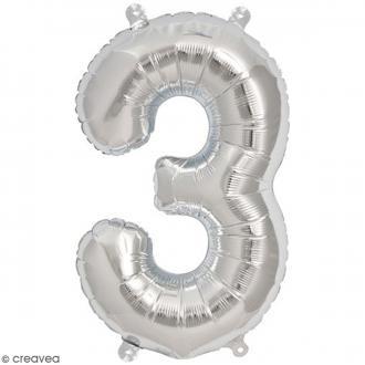 Ballon Aluminium - Chiffre 3 - Argenté - 1 pce