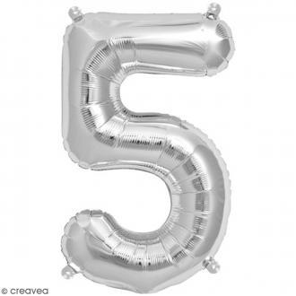 Ballon Aluminium - Chiffre 5 - Argenté - 1 pce
