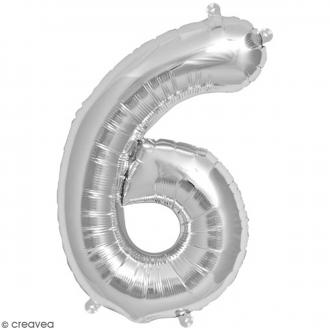 Ballon Aluminium - Chiffre 6 - Argenté - 1 pce