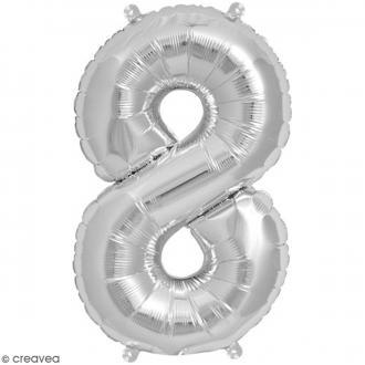 Ballon Aluminium - Chiffre 8 - Argenté - 1 pce