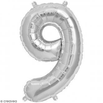 Ballon Aluminium - Chiffre 9 - Argenté - 1 pce
