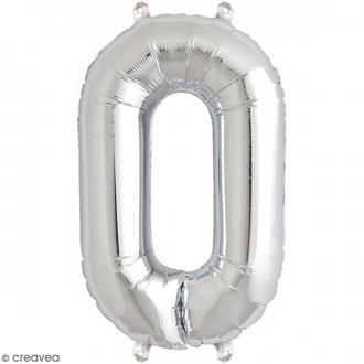 Ballon Aluminium - Chiffre 0 - Argenté - 1 pce