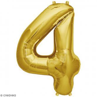 Ballon Aluminium - Chiffre 4 - Doré - 1 pce