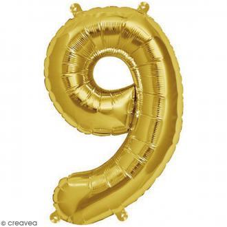 Ballon Aluminium - Chiffre 9 - Doré - 1 pce