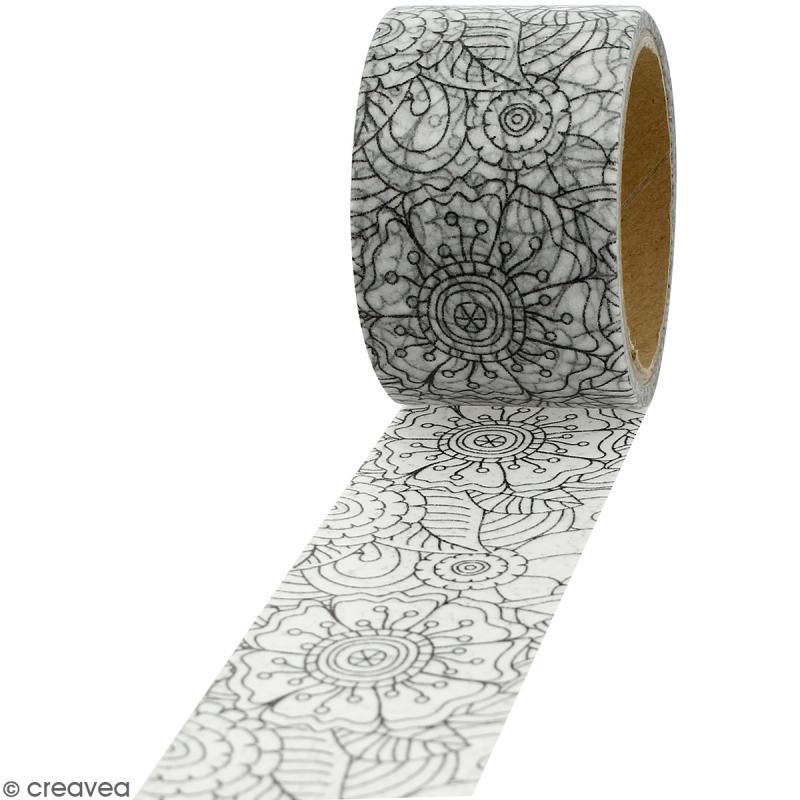 Masking tape Fleurs à colorier - 30 mm x 5 m - Photo n°1