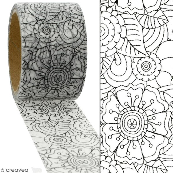 Masking tape Fleurs à colorier - 30 mm x 5 m - Photo n°2