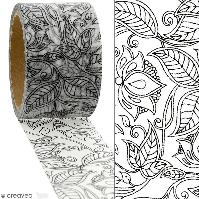 Masking tape Feuillages à colorier - 30 mm x 5 m - Photo n°2