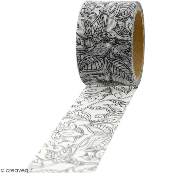 Masking tape Feuillages à colorier - 30 mm x 5 m - Photo n°1