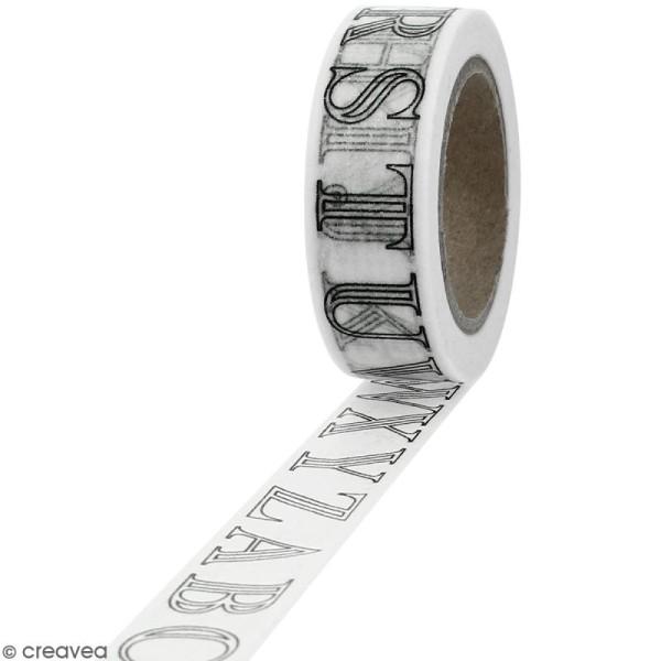 Masking tape Lettres de l'alphabet à colorier - 15 mm x 10 m - Photo n°1