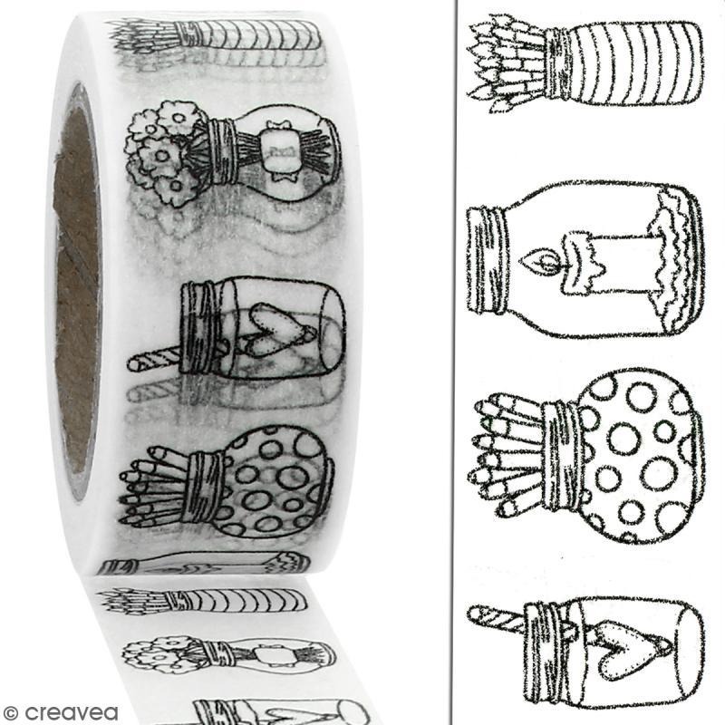 Masking tape Pots à colorier - 20 mm x 10 m - Photo n°2