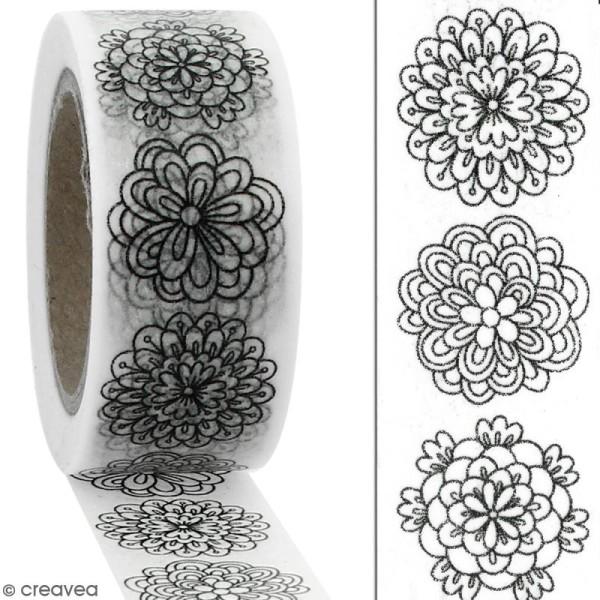 Masking tape Fleurs à colorier - 20 mm x 10 m - Photo n°2