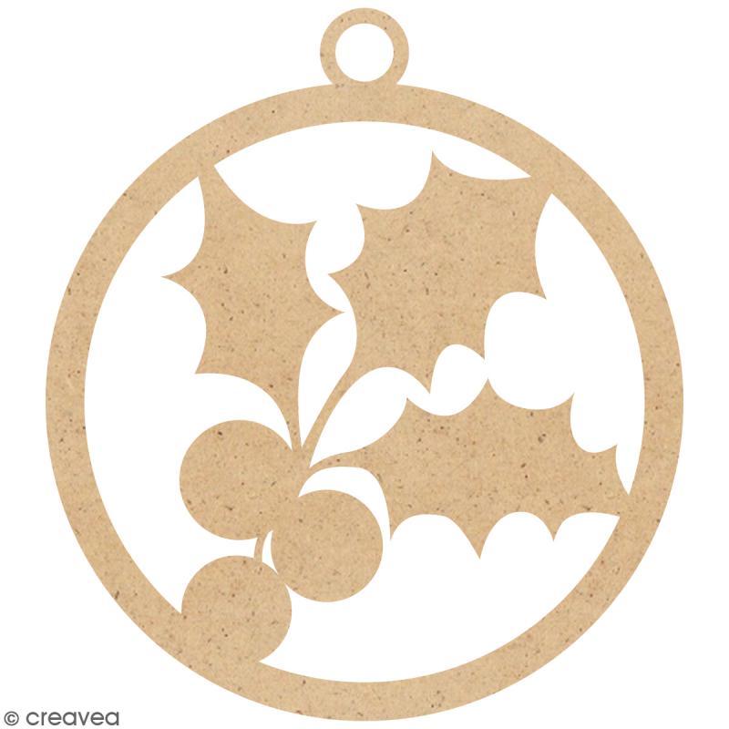Boule de Noël Houx en bois à suspendre - 5 cm - Photo n°1