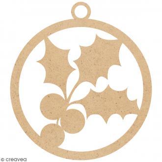 Boule de Noël Houx en bois à suspendre - 5 cm