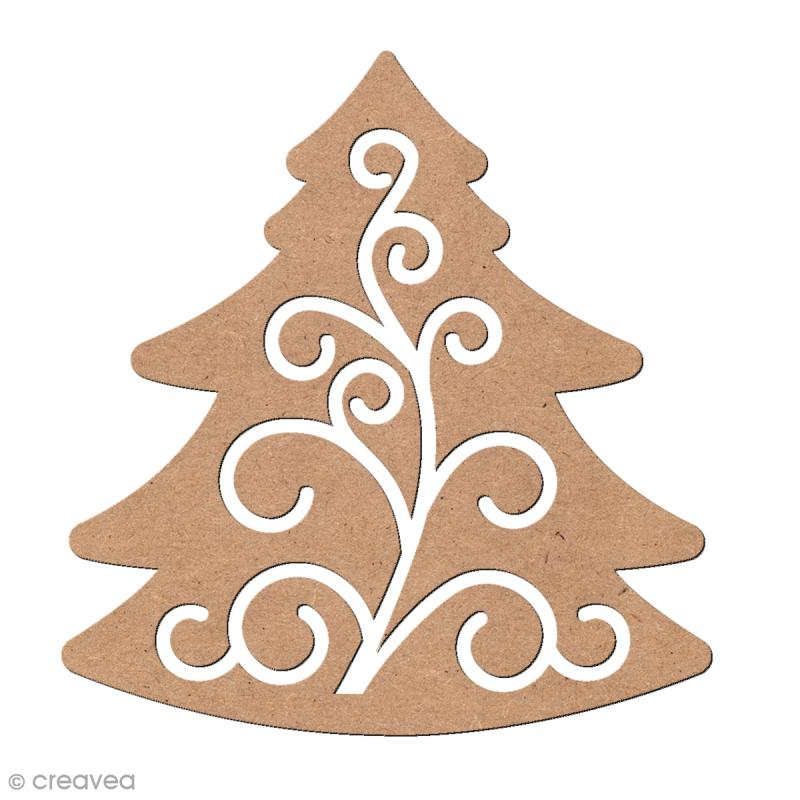 Forme en bois Noël - Sapin ajouré 2 5,5 x 5 cm - Photo n°1