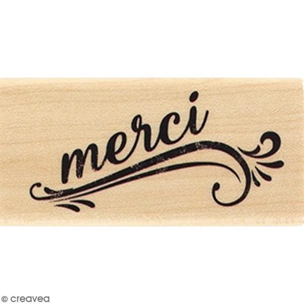 Tampon Bois Merci grunge - 3 x 6 cm - Photo n°1