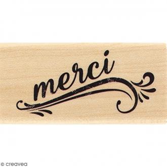Tampon Bois Merci grunge - 3 x 6 cm